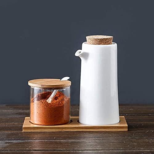 Botella dispensadora de aceite blanco Vinagre de aceite de oliva de cerámica Vertedor de soja Dispensador de líquido de cocina Dispensador de condimentos Botella de aceite para cocina y alma