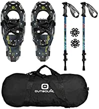 OUTBOUND Snowshoes Kit | Lightweight Aluminum Snowshoes with Adjustable Poles and Bag | Men and Women | 19 Inches