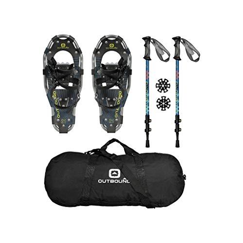 OUTBOUND Schneeschuhe Kit | Leichte Aluminium-Schneeschuhe mit verstellbaren Stangen und Tasche | Herren und Damen | 48,1 cm
