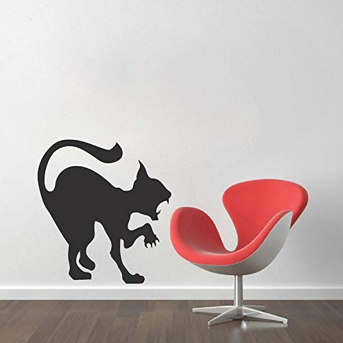 YuanMinglu Attack Cat Silhouette Etiqueta de la Pared Scary Cat Vinilo Apliques decoración del hogar Arte de la Pared póster decoración del hogar Fiesta de Halloween Negro 36x36 cm