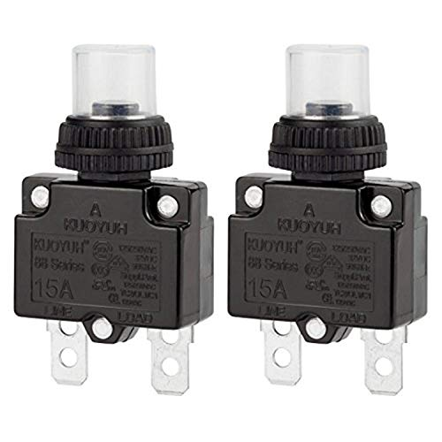 Circuit Breaker,DIYhz Thermal Overload Circuit Breaker 88 Series 15A 32V DC 125/250VAC 50/60Hz Push Button Circuit Breaker Reset Boot Switch and Waterproof Button Transparent Cap 2 Pcs