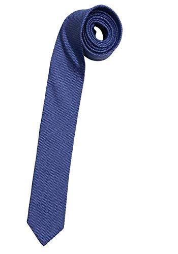 OLYMP Krawatte slim aus reiner Seide Muster blau