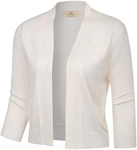 GRACE KARIN Fashion Half Sleeve Bolero Jacket Shrug for Teen Girls White Cardigan Autumn Fall product image
