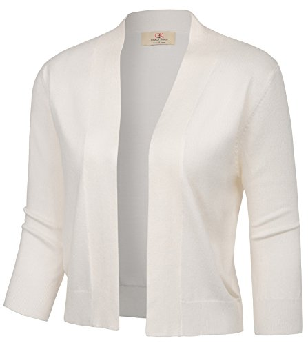 GRACE KARIN Ladies Classic 3/4 Sleeve Shrug Cardigan Open Front Stretchy Leisure Sweaters Knit Coats (Ivory,M)