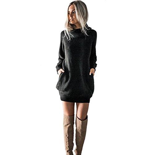 OVERDOSE Damen Strickkleid Roll Neck Jumper Kleid Damen Lang Shirt Lange Ärmel Bluse Mini Dress (A-Black,42 DE/XL CN)