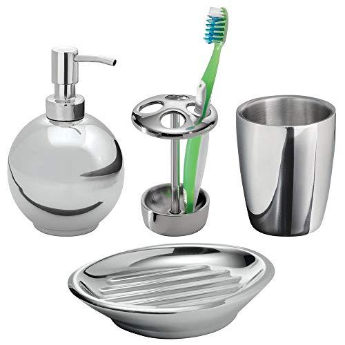 mDesign Juego de 4 accesorios de baño en acero inoxidable – Elegante...
