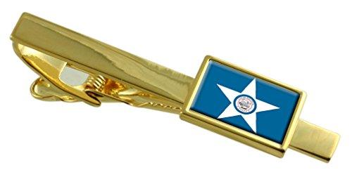 La città di Houston bandiera degli Stati Uniti oro Clip inciso personalizzato