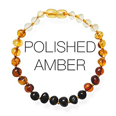 Meraki Adult Amber Bracelet - Polished Baroque Baltic Amber Bracelet   All Natural Pain Relief for Adults to Help Migraines, Sinuses, Arthritis and More   Rainbow Color (8 Inches)