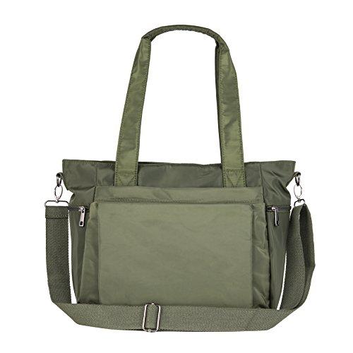 ZOOEASS Women Fashion Large Tote Shoulder Handbag Waterproof Multi-function Nylon Travel Messenger Bags (Green)
