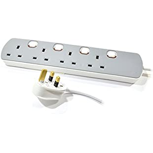 pro elec PL13084 2 m 4 Way Switched Extension, Grey/White:Anders-als-andere