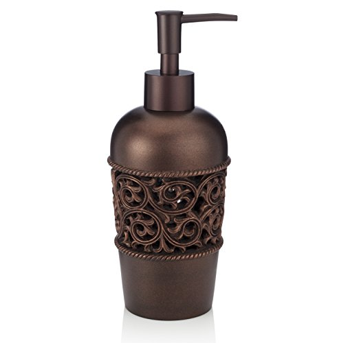 Essentra Home Bronze Liquid Soap Dispenser for Bathroom, Bedroom or Kitchen. Also Great for Hand Lotion and Essential Oils.