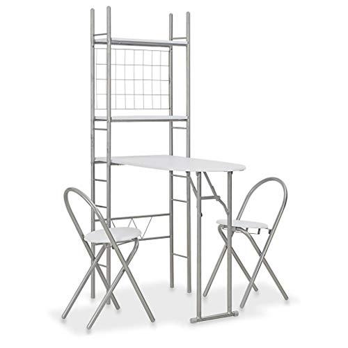 UnfadeMemory 3-TLG. Klappbare Essgruppe mit Ablagefach Bartisch Set Esstisch mit 2 Barhocker MDF und Stahl Ausklappbar Platzsparend Frühstückstheke (Weiß)