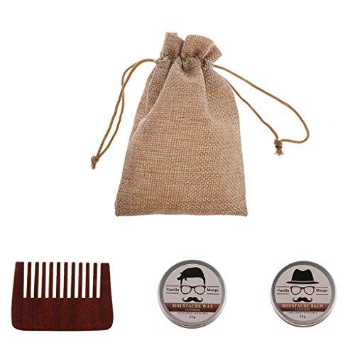 Sharplace 3 en 1 Baume à Barbe Beard Balm à Réduire Frisottis à Adoucir la Peau Sèche + Peigne à Démêlage à Moustache + Sac de Rangement