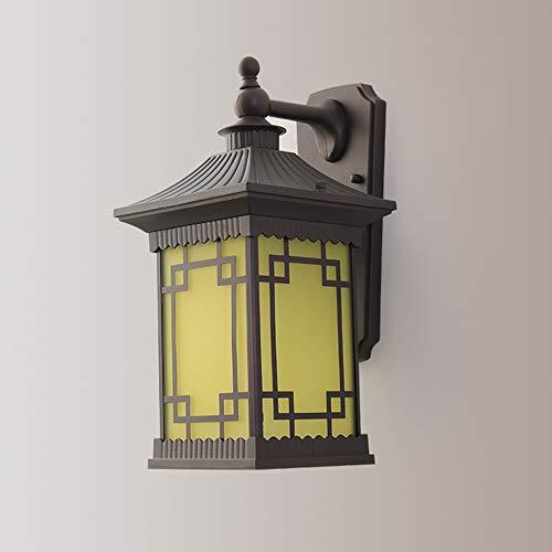 LGOO1 Aplique de Pared Exterior Antiguo Chino, lámpara de Pared de Aluminio Impermeable Estilo Minimalista, Vidrio Cuadrado, luz de Pared para Exteriores, balcón, Pasarela, Techo, escaparate, Puerta,