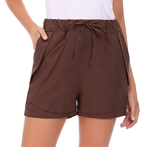 Hawiton Pantalones Cortos para Mujer Verano,pantalón Deporte de Algodon,elástica de Cintura Alta Short Pants con cordón y Bolsillos, Pantalones Chandal para Yoga Gimnasio Fitness