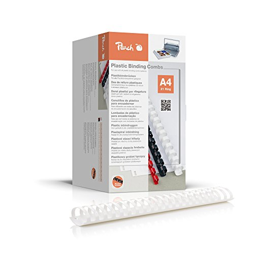 Peach PB450-01 bindruggen, plastic binding, DIN A4, inbindcapaciteit 500 pagina's, 50 stuks wit