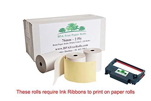 Compatible Epson Tm-u370 2 plis sans BPA Rouleaux de papier (20 rouleaux), 2 plis Dupliquées Rouleaux, 2 plis de cuisine Rouleaux de papier pour imprimante, 76x70mm