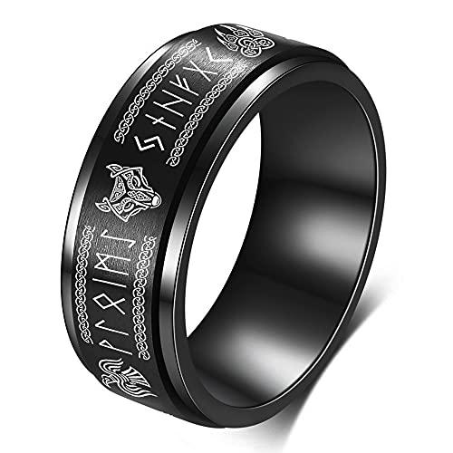 FLYUN Mens Rings Viking Rings For Men Wolf Norse Jewelry For Men Celtic Runes Men's Viking Black Ring (Black Viking Spinner 2, 9)