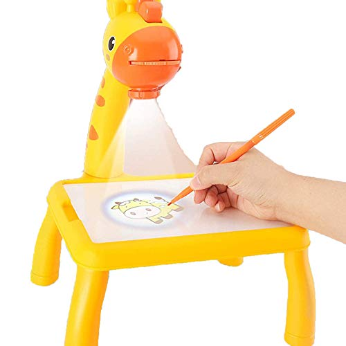 HHYSPA Kids Smart Projector Drawing Desk, Detachable Educational Toys Painting Table with Singing Function Easy-to-use Study Table for Children(24 Animal Patterns)