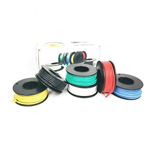 28 AWG Elektronik Kabel set Haken Draht-Kit Flexible Silikonkabel 3000V Isolierdraht-hohe Temperaturbeständigkeit (6 verschiedene farbige 10M Spulen)