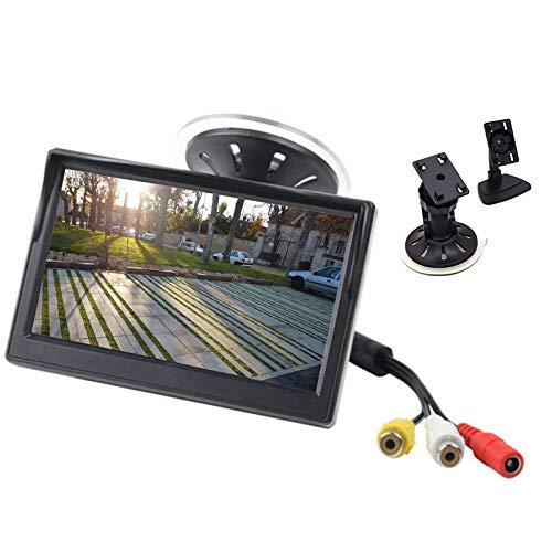 Monitor de coche de 5 pulgadas, 12-24 V, pantalla LCD, ventosa y soporte para salpicadero para cámara de marcha atrás, sistema de...
