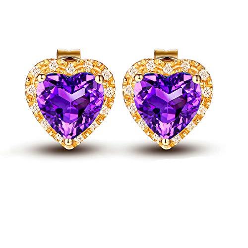 Aimsie Gold earrings, heart shaped earrings, gold stud earrings, 18 carat (750) yellow gold earrings, ladies rose gold earrings, gold 750 18 carat real yellow stud earrings. purple