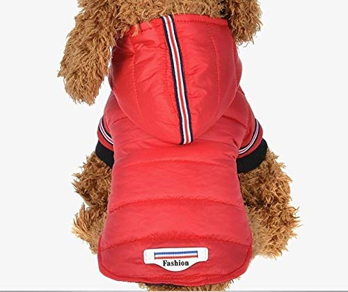 Tuzi Qiuge Haustier Kleidung, Kleiner Hund künstliche Hoodie Dicke Mantel Haustier welpen wasserdichte kleine Hund Mantel, Haustier zubehör (Color : Red)