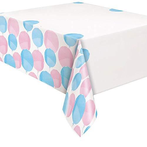 Gender Reveal Balloons Plastic Table Cover I Rectangular I Pink & Blue I 1 Pc.