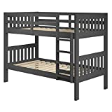 Chelsea Home Furniture Dayton Twin Over Twin Mission Bunk Bed in Gray