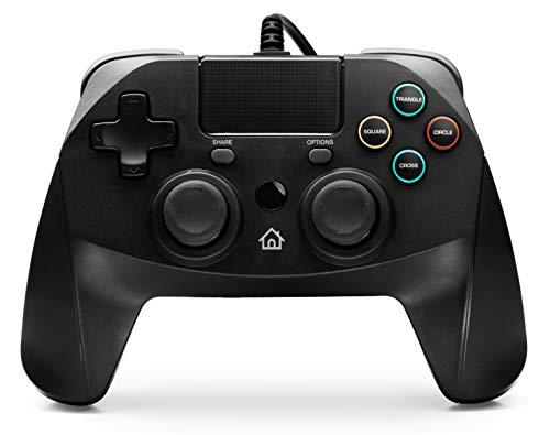 snakebyte GAMEPAD 4S – schwarz - Controller für PlayStation 4 / PS4 Slim / Pro / PS3, Analoge Dual Joysticks, PC kompatibel (Windows 7 / 8 / 10), 3m Kabellänge, Touchpad, haptisches Feedback