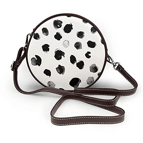 fepeng Pequeño bolso de hombro en forma redonda puntos onda de tinta Crossbody circular Bolsas de hombro de cuero de microfibra, café, Talla única