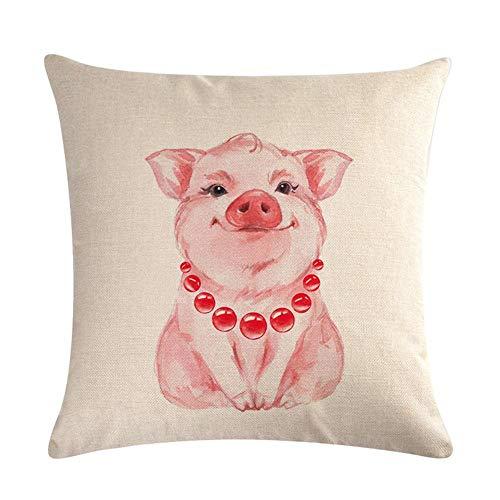 Banane Sofá funda de almohada 45 x 45 cm estilo minimalista moderno rosa lindo cerdo serie de dibujos animados de lino cuadrado funda de cojín decoración del hogar suministros kindhearted