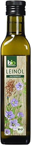 biozentrale Leinöl Bio kaltgepresst | 3x250ml Leinsamenöl | Reines Bio Leinöl aus Bio Leinsamen| Ideal zur Verfeinerung warmer Gerichte und Salate