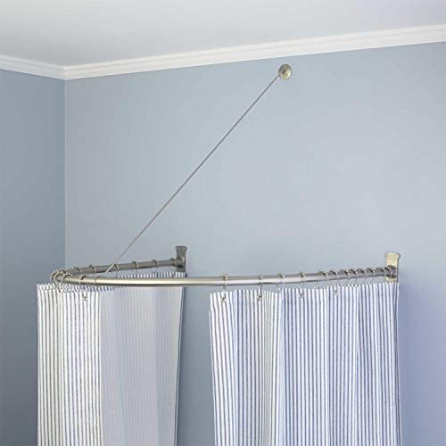 Naiture Half-Oval Stainless Steel Shower Curtain Rod with Swivel Ceiling Support in 36' L X 36' W,...