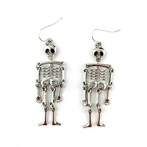 ciriQQ 1 par de pendientes colgantes de calavera de esqueleto vintage de Halloween para mujer