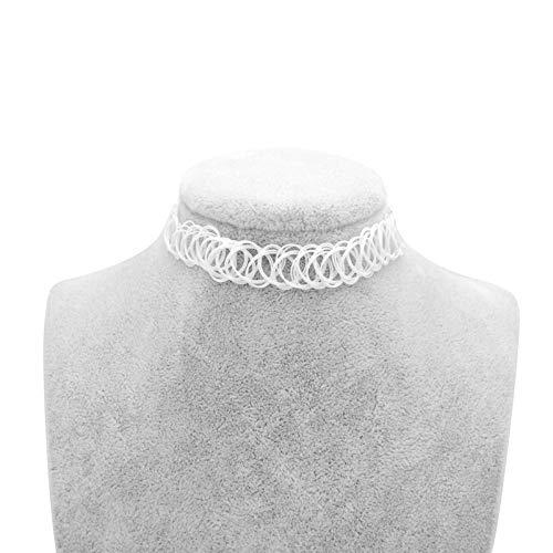 CTDMMJ Halskette Collares Frauen Mädchen Elastische Vintage Stretch Tattoo Halskette Armband Einstellbar Dehnbar-Weiß