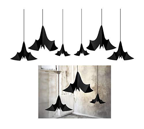 Feste Feiern Décoration d'Halloween I 9 pièces chauve-souris suspendus en spirale Noir I Happy Horror Décoration d'Halloween