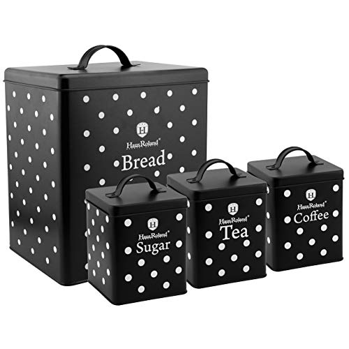 HausRoland Bread Box for Kitchen Counter Stainless Steel Bread Bin Multi Coloured Polka Dot Storage Container For Loaves Pastries Dry Food (Black, GS-03605-A403)