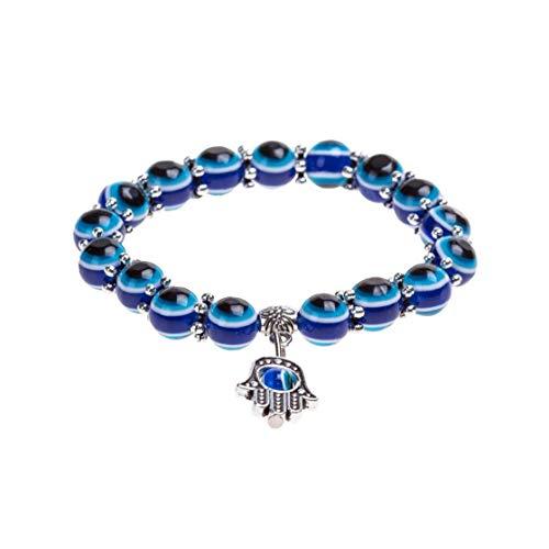Pulsera de ojo turco con diseño de ojos azules y cristales de la suerte, para mujeres y hombres, única y elegante cadena de muñeca para mujer