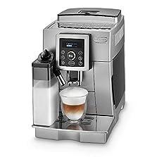 De'Longhi ECAM 23.466.S Kaffeevollautomat mit Milchsystem, Cappuccino und Espresso auf Knopfdruck, Digitaldisplay mit Klartext, 2-Tassen-Funktion, Großer 1,8 Liter Wassertank, silber©Amazon