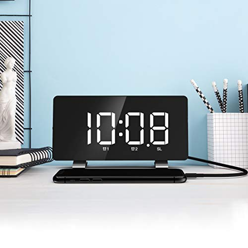 Nicewell - Reloj despertador digital con 10 alarmas, volumen de sonido de 15 niveles, visualización LED grande y clara, 3 brillos, reloj digital para niños, ancianos, mesita de noche para recámara, cocina y oficina