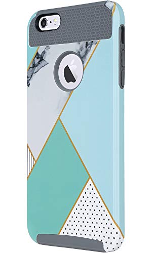 ULAK iPhone 6s Case, iPhone 6 Case, Colorful Series Slim Hybrid Dual Layer Scratch Resistant Hard Back Cover Shock Absorbent TPU Bumper Case for Apple iPhone 6/6s 4.7 inch(Mint Geometric Marble)