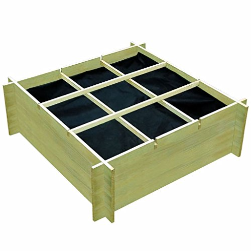 vidaXL Pin Imprégné Jardinière pour Légumes 120x120x40cm Pot de Fleurs Plantes