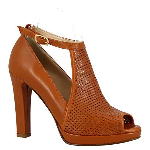 Leonardo Shoes Sandali Tacco Alto Spuntati Donna Artigianali in Nappa Cuoio - Codice Modello: 125 Forma 5126 Nappa Sella - Taglia: 37 EU