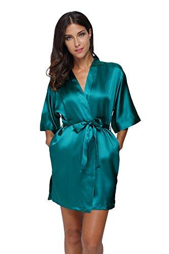 The Bund womens Pure Colour Short Kimono Robes with Oblique V-Neck Seagreen Medium