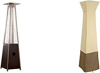 AZ Patio Heaters Patio Heater, Quartz Glass Tube in Hammered Bronze + Classic Accessories Veranda Cover