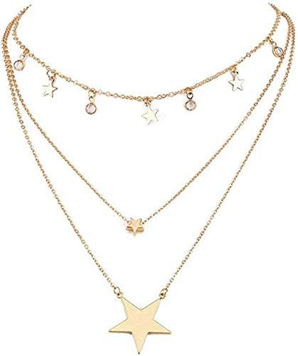 Collana girocollo con ciondolo a stella a diversi strati per gioielli regolabili con perline di cristallo da donna Women