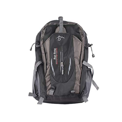 屋外登山バッグ40L撥水ナイロンショルダーバッグ男性と女性の旅行ハイキングキャンプバックパック-ブラック40L