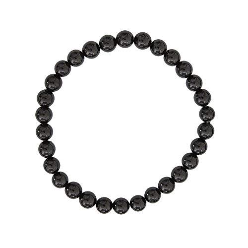 FG Jewels - Pulsera de turmalina negra para hombre y mujer, magnética, 6 mm, pulsera de protección