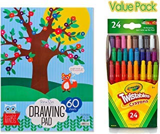 """Mini Twistables Crayons, 24 Classic Colors Non-Toxic – with Drawing Pad 9""""x 12"""", 60 Sheets – Perfect Set for Kids Fun Activity, Home & Preschools"""